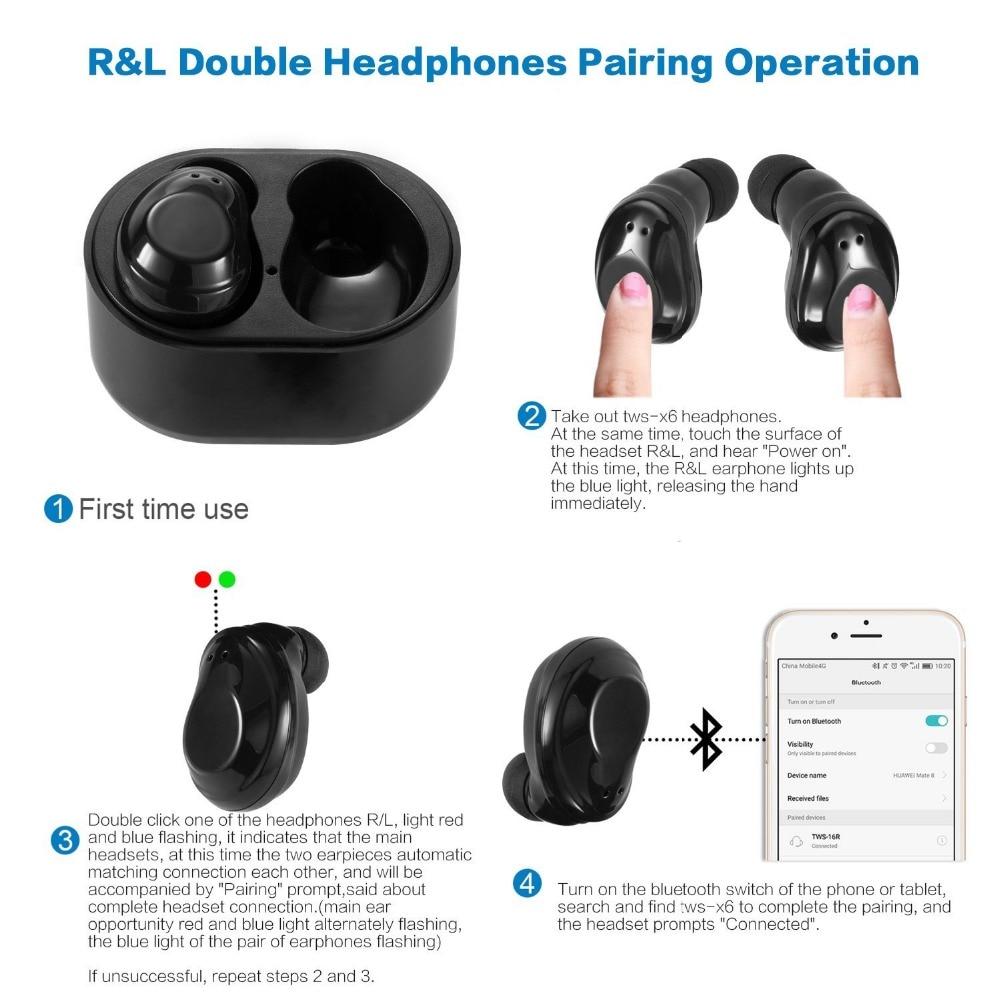 561b3d14d13 X6 TWS Bluetooth Earphone Mini True Wireless Stereo Earbuds earpiece  Waterproof Headset Headphone for iPhone xiaomi sport gift-in Bluetooth  Earphones ...