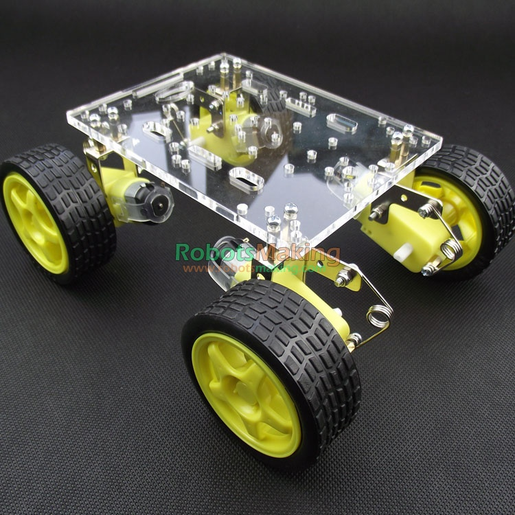 New smart robot car chassis / tracing / avoidance / remote tracking robot race car chassis damping shock absorbers speed test counting module for smart tracing car yellow