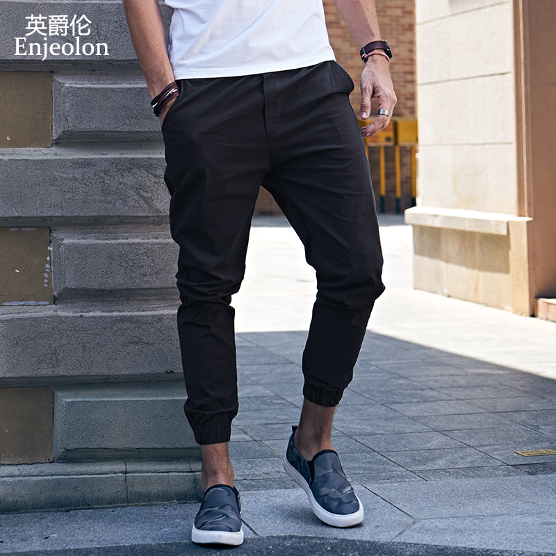Enjeolon Brand Spring Long Straight Trousers Sweatpants Men Solid Casual Pants 3XL Men Quality Thin Casual Pants Males K6252