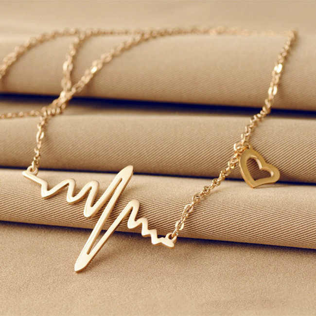 New Fashion Jewelry Imitation Titanium Steel Bijoux Femme Gold silver Ecg Heart Necklace Clavicle Choker Pendant Necklace