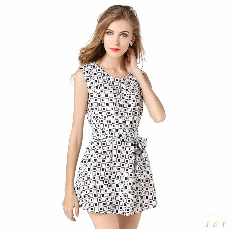 Hot Sale Women Spring Summer New Chiffon Plaid Mini Dress ...