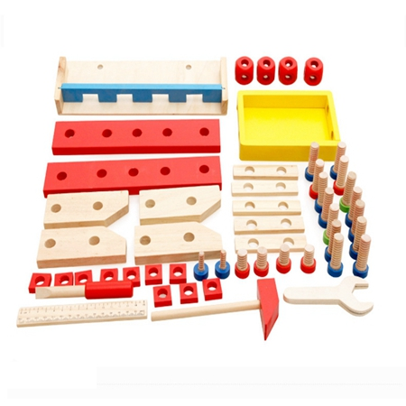 Montessori Educational toys wooden screw math toy for kids removable toy assembling modelTool table learning brinquedos in Math Toys from Toys Hobbies