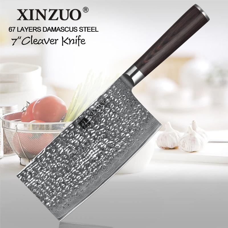Ev ve Bahçe'ten Mutfak Bıçakları'de XINZUO 7 ''inç Kasap Cleaver Mutfak Bıçağı 67 Katmanlı Şam Paslanmaz Çelik Çin Kıyıcı Bıçak Pakka Ahşap Kolu ile'da  Grup 1