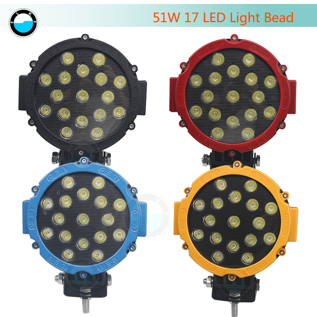 "7 inch LED Work Light 12V/24V High Power For 4x4 Offroad Truck Tractor ATV SUV Driving 7"" 51W Car Round LED Work Light."