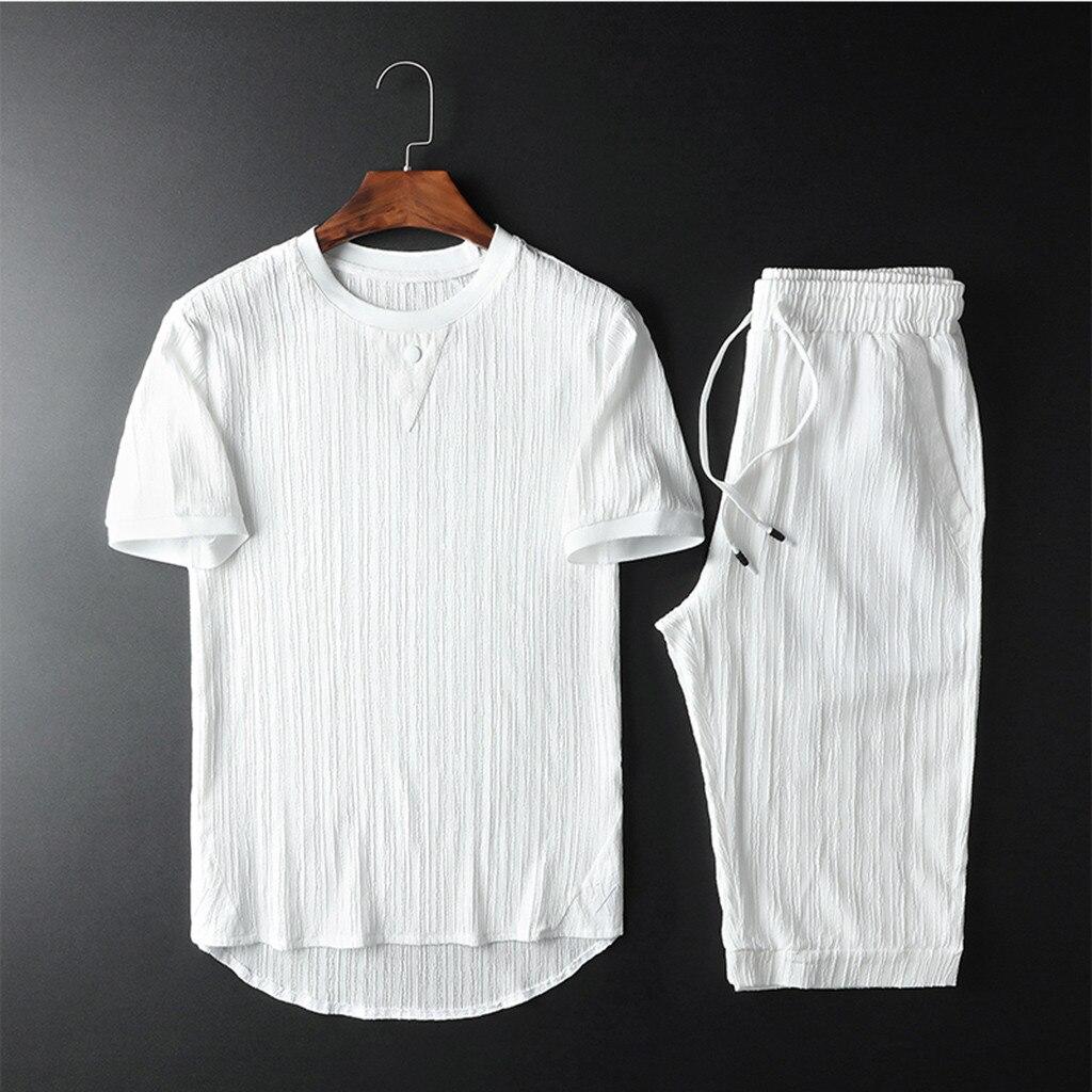 Fashion Men's Set Cotton Short Sleeve Pants Set Summer Round Collar Set Tracksuit Solid Color Lace Set Y617