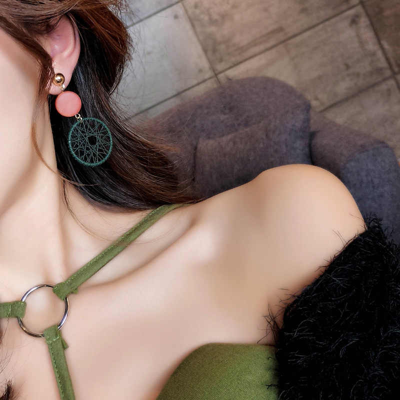 2019 Moda de Luxo Simples Big Rodada Brincos Mulheres Moda Estilo Coreano Malha Oco Brincos Gota Declaração Jóias 1E283