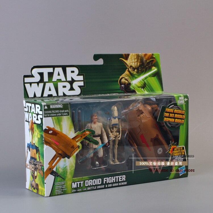 <font><b>Star</b></font> <font><b>Wars</b></font> Mtt Droid Fighter with Battle Droid and <font><b>Obi-Wan</b></font> <font><b>Kenobi</b></font> PVC <font><b>Action</b></font> <font><b>Figure</b></font> Collectible Model Toy