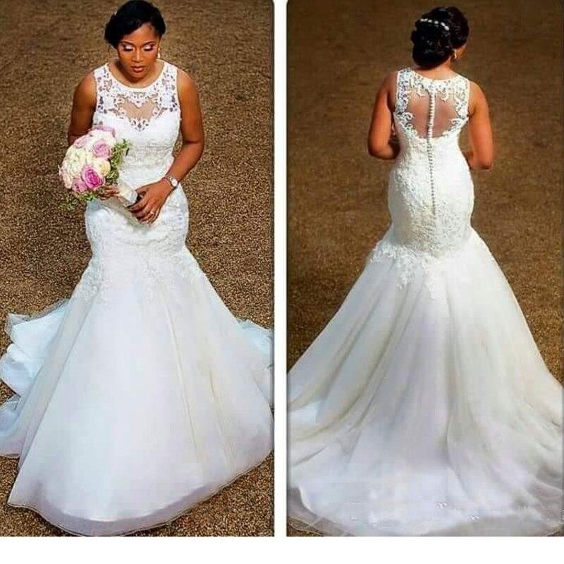 Cheap Mermaid Wedding Gowns: African Nigerian Mermaid Wedding Dresses Sheer Neck