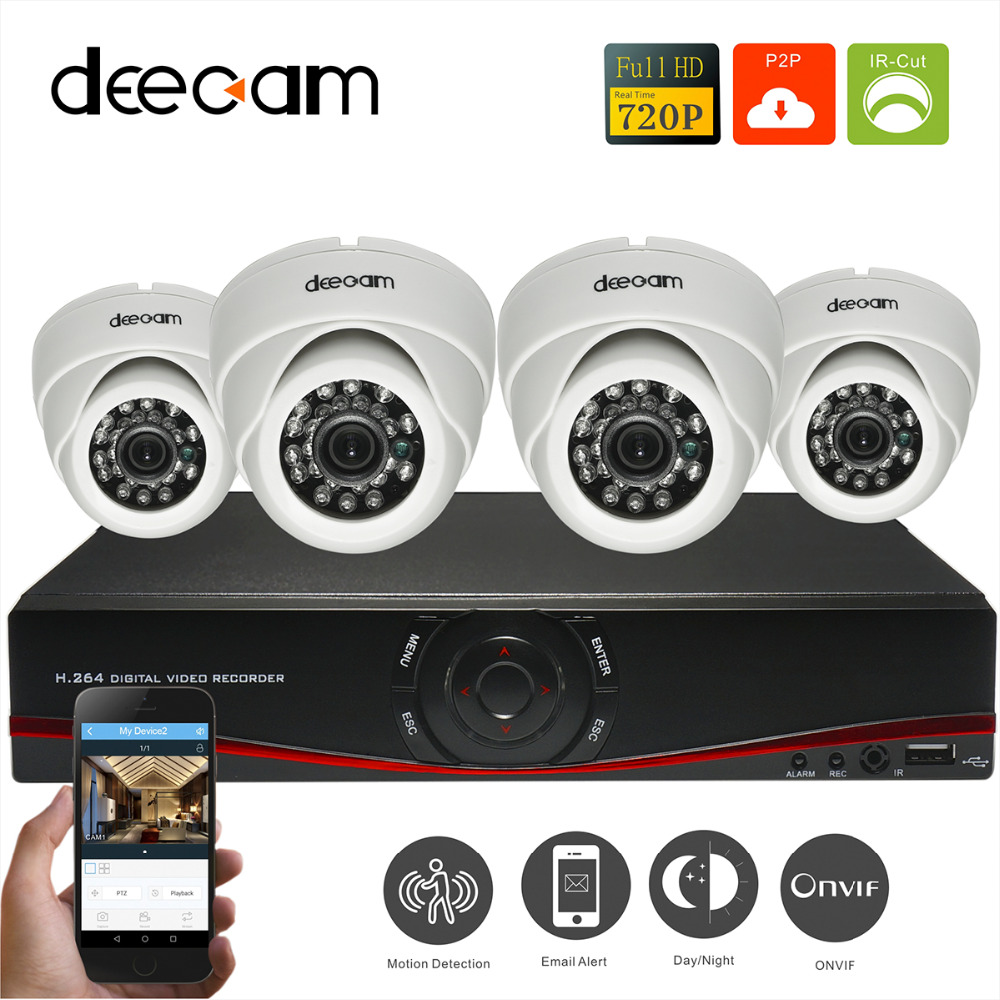 deecam ip camera cctv home security camera system 1200tvl de surveillance video indoor 4ch hd ip. Black Bedroom Furniture Sets. Home Design Ideas