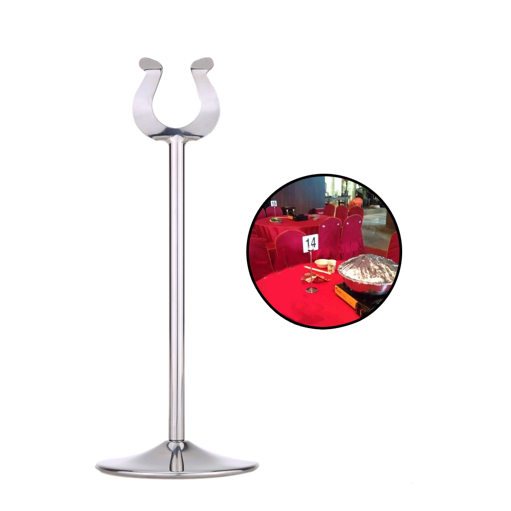 Stainless steel u shaped mini table number place card holder menu stainless steel u shaped mini table number place card holder menu stand for wedding restaurant home decoration in party direction signs from home garden reviewsmspy