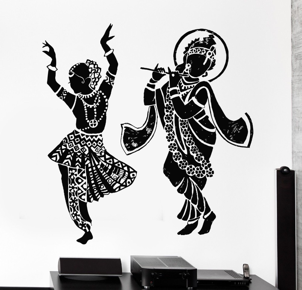 Cheap Indian Buddha Dance Hinduism Wall Decal Home Decor Elephant Ganesh Buddhism India Namaste