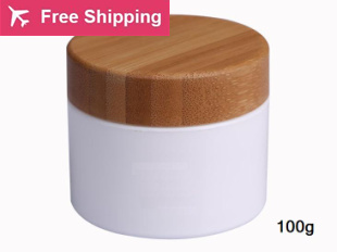free shipping 100g 10pcs / lot PP plastic cream jar with bamboo lid.Cosmetics packing bottles with wooden cover 200pcs x 200g big frosted abs plastic cosmetic packaging bath salt jar with wooden spoon