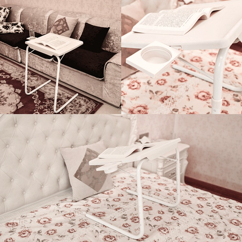 2 Smart Table Folding Tablemate Tray Foldable Desk Cup Holder New Laptop Stand For Bed Holder Adjustable Laptop Desk Lapdesks aluminum alloy adjustable laptop desk lapdesks computer table stand notebook with cooling fan mouse board for bed sofa tray