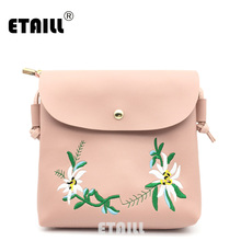 ETAILL Summer Pu Leather Women Chain Beach Bag Pink Female Flower Crossbody Bag Lady Embroidered Square Messenger Bag for Girls