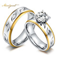 Meaeguet Stainless Steel CZ Couple Rings for Woman Valentine Wedding Engagement Lover's Ring