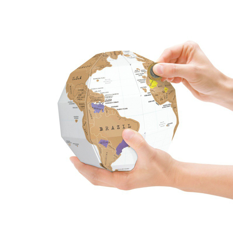 ROWBOE Stationery Scratch Map DIY World Map Scratch Card 3D Stereo Globe World Map Home Decoration Office / School Supplies