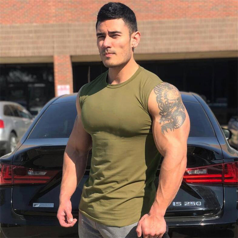 Men's Compression Sleeveless Tight Shirt Fitness Mens Blank   Tank     Top   Workout Vest Cotton Muscle   Tank     Top   Gyms Cothing