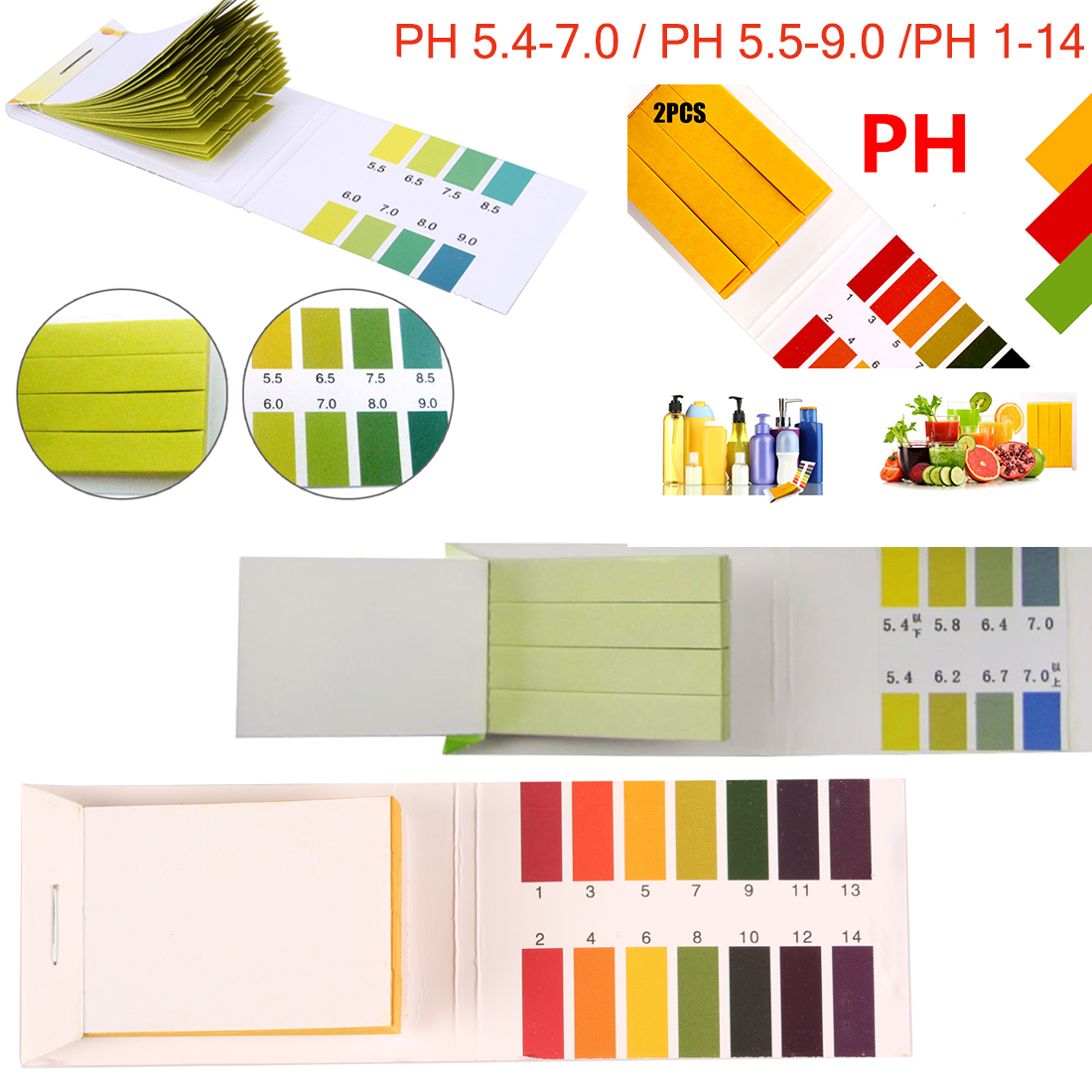 Alkaline Test Papers Strips Indicator Lab Supplies Litmus Testing Kit For Plant,Water 80 Strips PH 5.4-7.0,PH 5.5-9.0,PH 1 -14