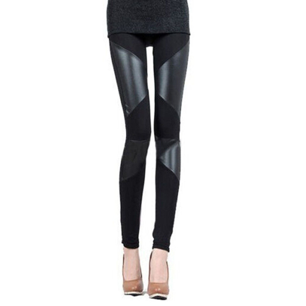 MOCH 2017 Fashion Women 4 Stitching 6 Stitching Stretchy Faux Leather Black Leggings One Size