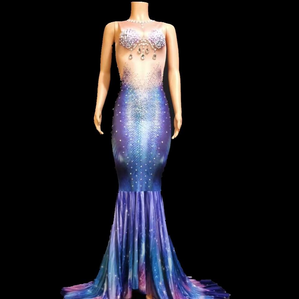 Printemps brillant strass perle longue robe femmes anniversaire Costume bal célébrer impression 3D grande queue robes de soirée tenues de soirée