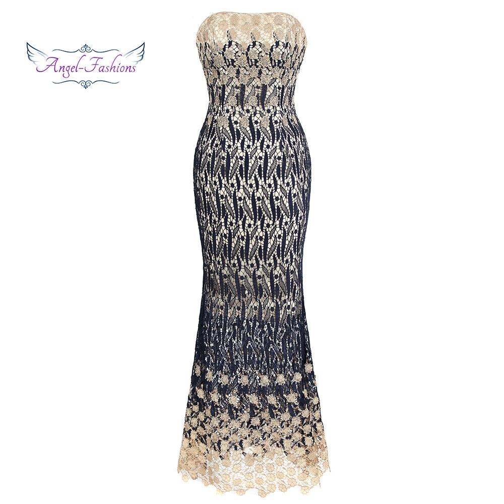 Angel-fashions   Evening     Dress   Tea-Length Mermaid Lace   Dresses   J-170816-S