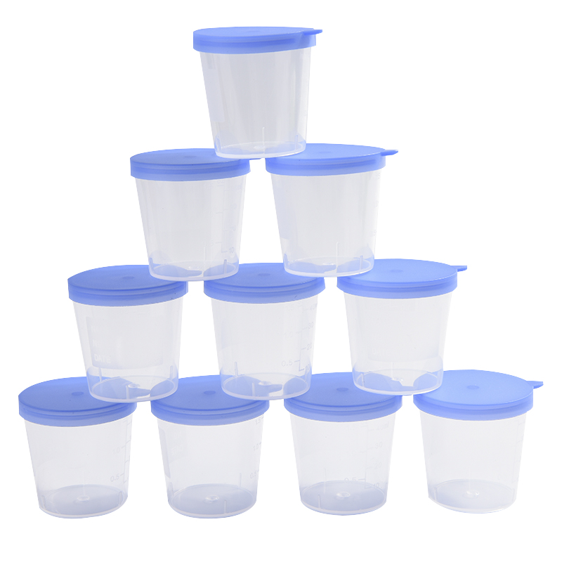 40ML Urine Container Specimen Cup Sample Bottle Molded Graduation ML & Oz PP EO Sterile Blue Cap Plastic Cup 10 Pcs/Pack