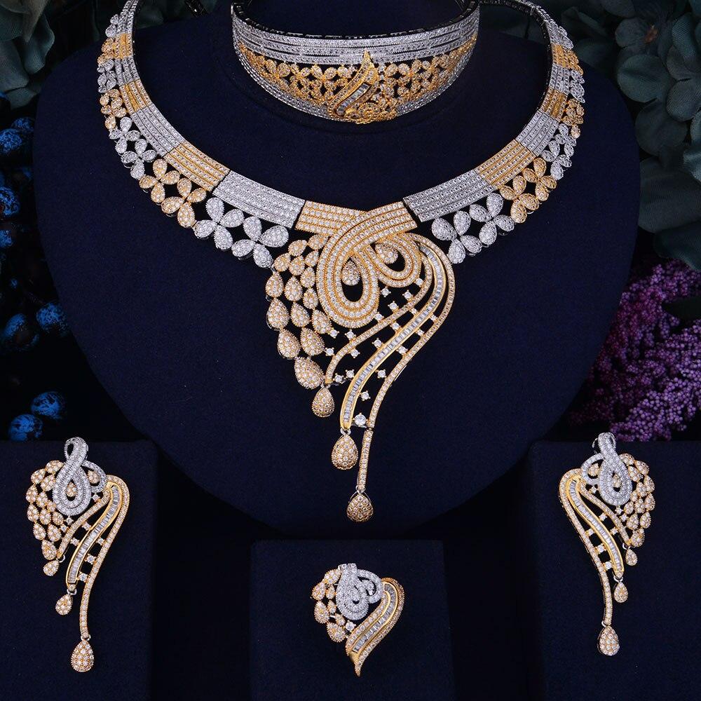 GODKI Rose fleur feuille de luxe femmes nigérian mariage Naija mariée cubique zircone collier Dubai 4 pièces robe ensemble de bijoux