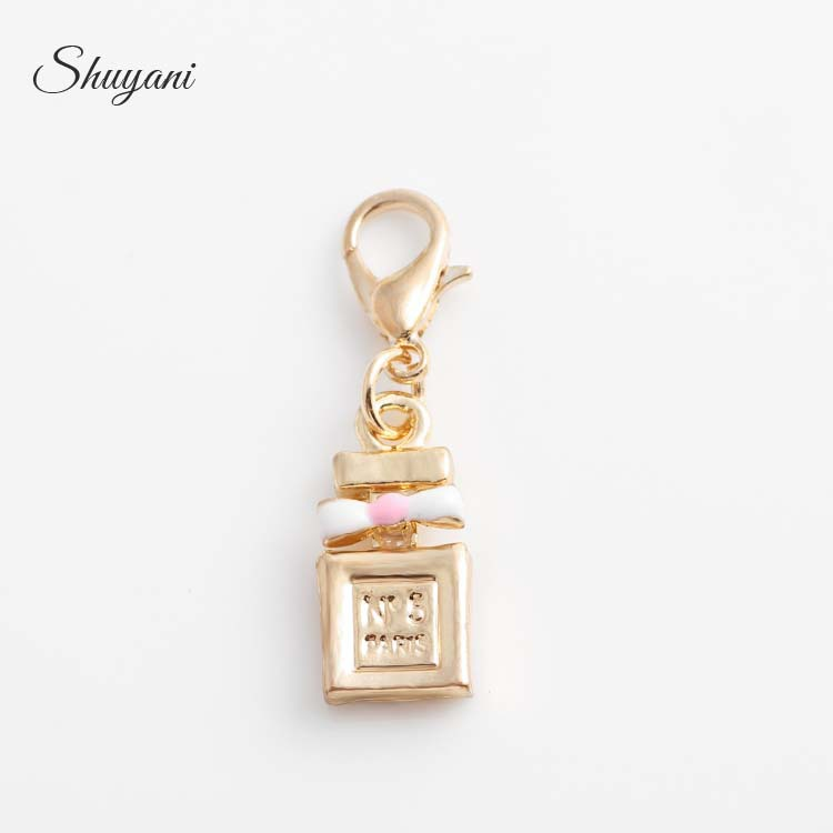 Hot Brands 20pcs/lot Gold Floating Perfumery Bottle Dangle Charm Fit Living Memory Lockets Free Shipping CM534#