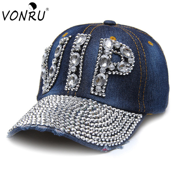 VONRU VIP Rhinestone Baseball Cap Womens Cotton Sun-Shading Letter Baseball  Summer Denim Caps Hip Hop Snapback Hats Gorras 18ca55360281