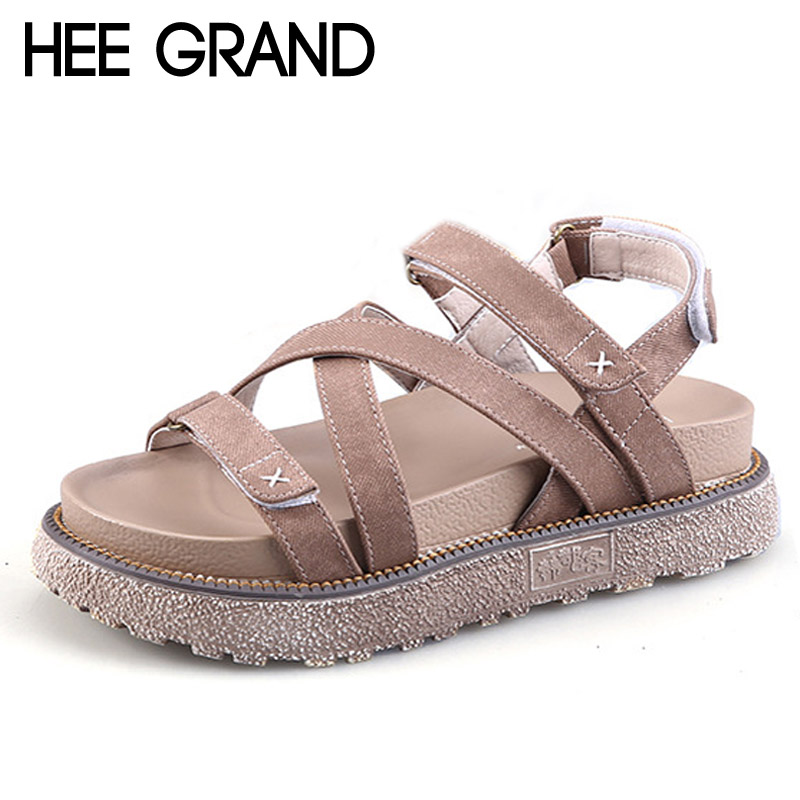 HEE GRAND 2017 Summer Gladiator Sandals Comfort Flats Casual Creepers Platform Canvas Shoes Woman Plus Size 35-43 XWD5571 phyanic crystal shoes woman 2017 bling gladiator sandals casual creepers slip on flats beach platform women shoes phy4041