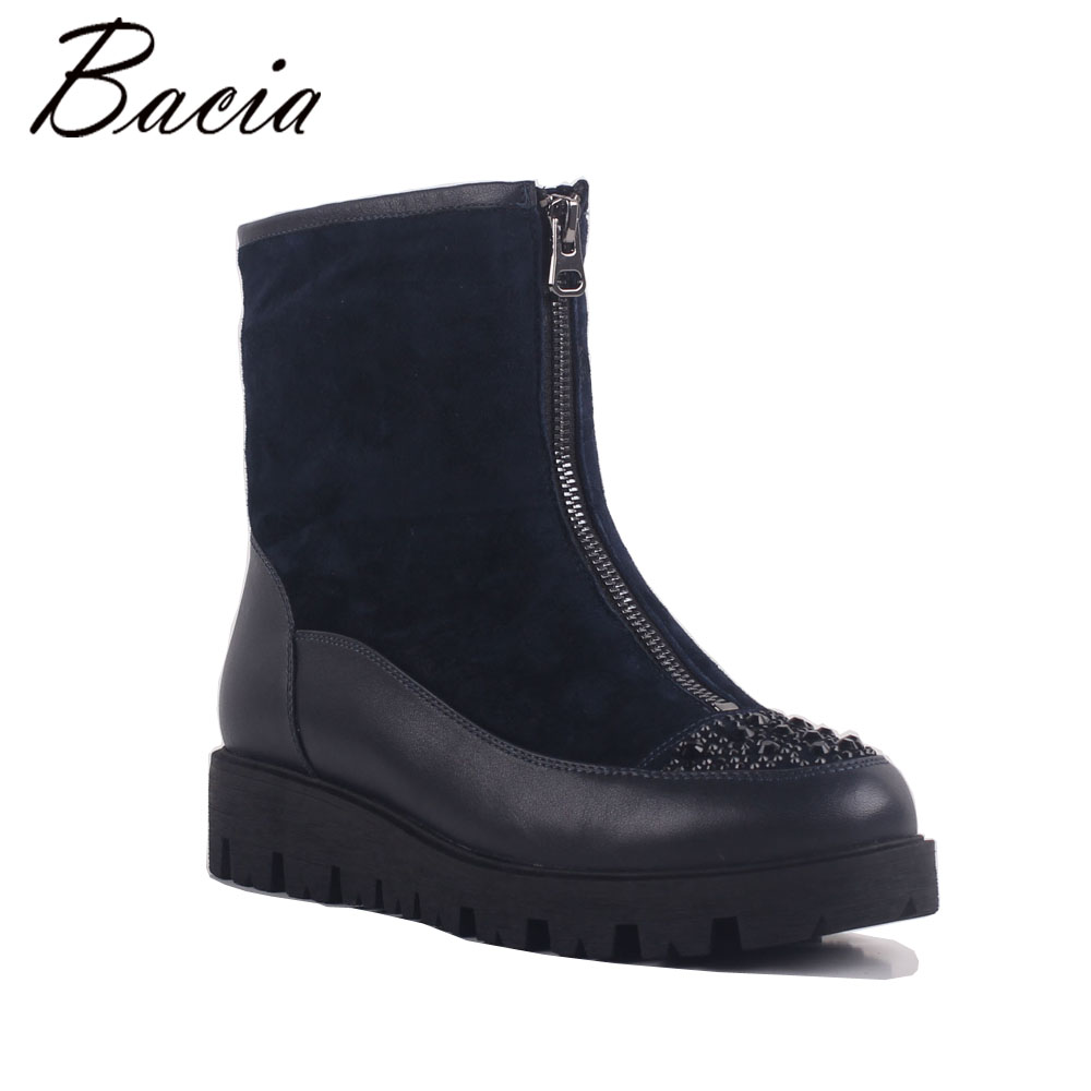 Bacia New Arrival 100% Real Fur Classic Mujer Botas Genuine Cowhide Leather Snow Boots Winter Shoes for Women Crystal MB022 2016 new arrival ankle boots for women fashion winter shoes warm plush snow boots shoe bowtie women boots polka dot botas mujer