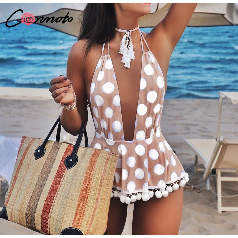Conmoto Polka Dot Bikini Women 2019 Sexy Deep V Backless Swimsuit Print Tassel Lace Up Skirt Beachwear Plus Size Bodysuit