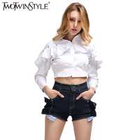 TWOTWINSTYLE Summer Costumes For Women S Suit Two Piece Set Ruffle Long Sleeve White Shirt Crop