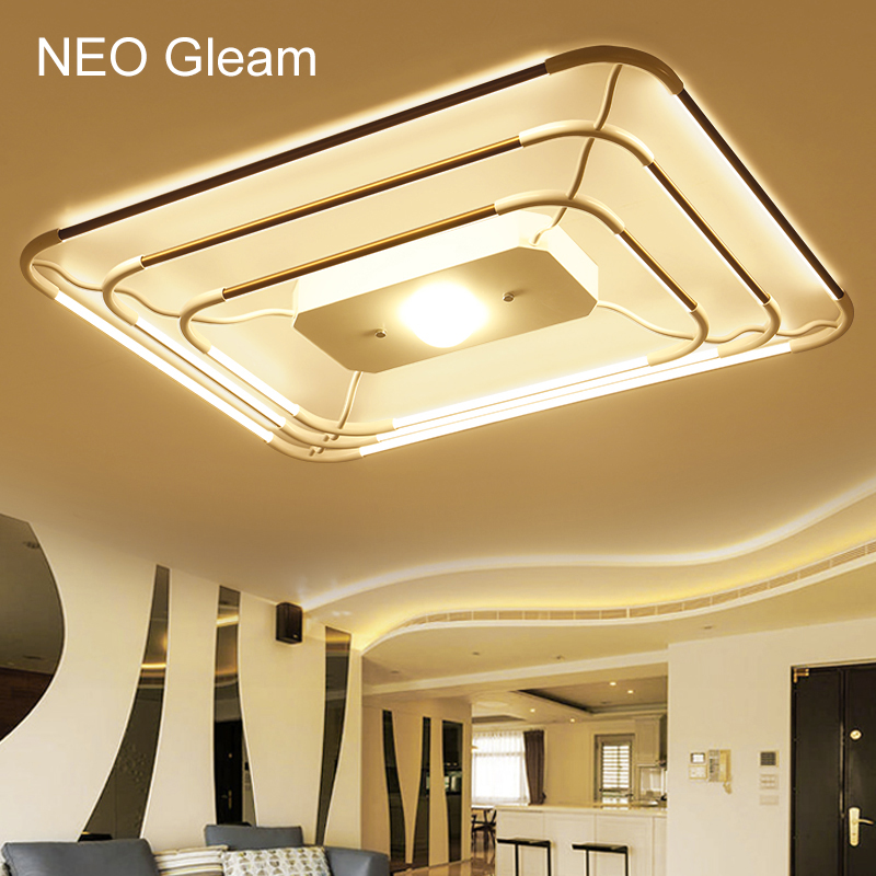 NEO Gleam Rectangle Minimalism Modern Led Ceiling Lights For Living Study Room Bedroom lampe plafond avize Indoor Ceiling Lamp neo gleam rectangle modern led ceiling lights for living room bedroom white or black aluminum 85 265v ceiling lamp free shipping