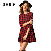 SHEIN Red Black Round Neck Plaid Dress 2017 New Fashion Autumn Casual Dresses For Women Half