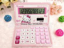 2016 Hello Kitty New Cute Calculator Folding Cartoon Calculadoras Dual Solar Power Desktop Calculating