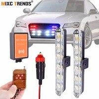 2Pcs 6LEDs Wireless Remote Police Light Bar For Car Flash Controller Led Strobe Lights Emergency Hazard