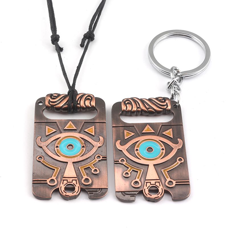 Fashion jewelry The Legend of Zelda Breath the Wild scalable rope chain vintage Pendant Necklaces big eyes logo charms gift