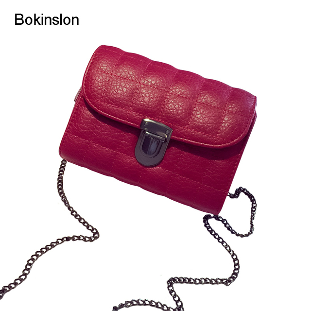 25f8c6c9aa90 Bokinslon Woman Lock Buckle Bags Retro PU Leather Female Small Shoulder  Bags Chain Spiraea Ladies Crossbody