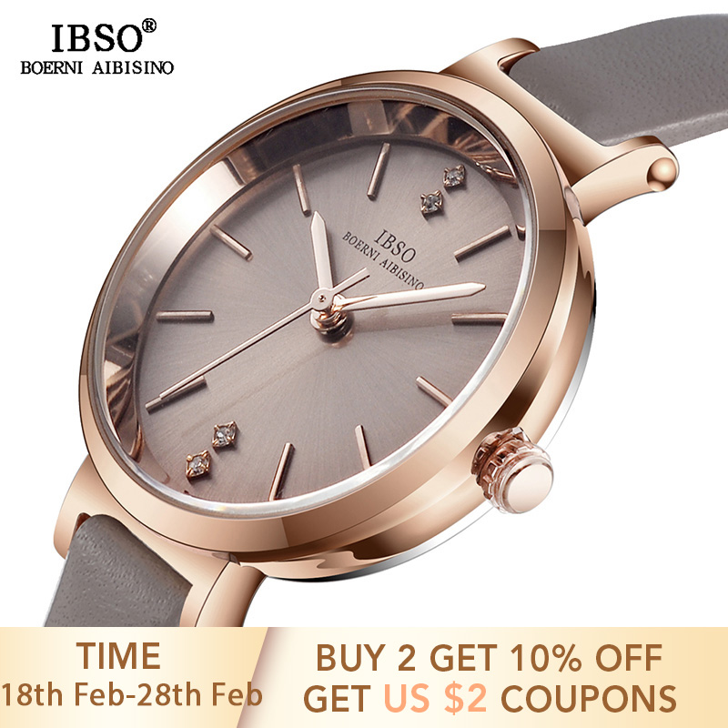 IBSO 8 MM Ultra-Thin Wrist Women Watches Luxury Female Clock Fashion Montre Femm