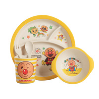 Bamboo Fiber 5PCS Children's Cutlery Set Baby Dinner Dishes Plate Compartment Round Plates Cartoon Fall resistant Rice Bowl Bowl
