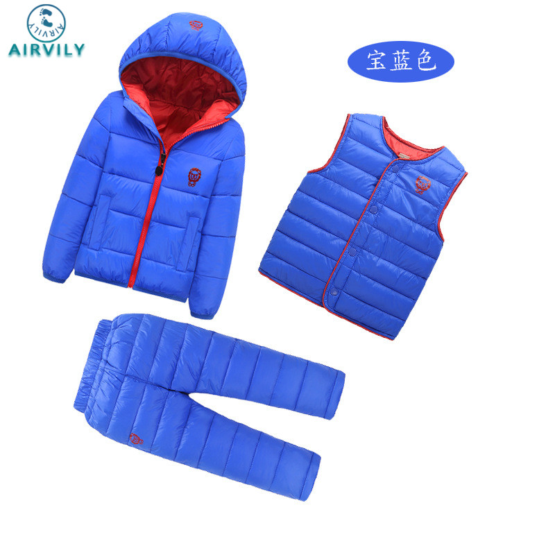 3 Pcs/1 Lot 2016 Winter Baby Girls Boys Clothes Sets Children Down Cotton-padded Coat+Vest+Pants Kids Infant Warm Outdoor Suits 2017 winter children cotton padded parkas clothes baby girls