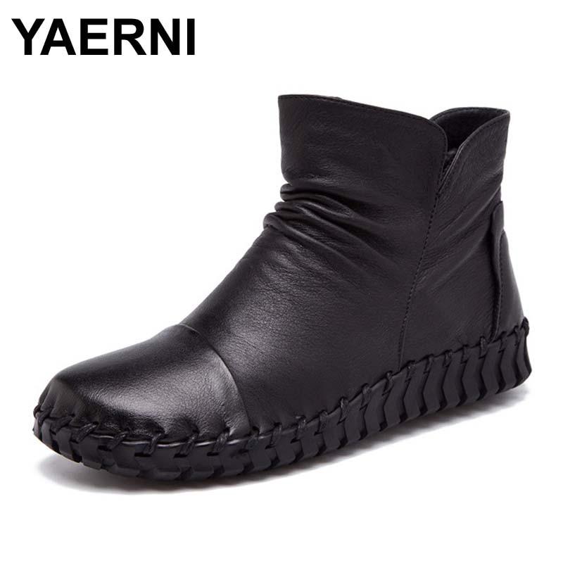YAERNI winter Autumn Fashion Shoes Women Boots Botas Femenina Chaussures Zapatos Mujer Ankle Boots Women genuine