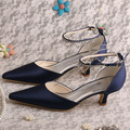 Custom Handmade Pointed Toe Low Heel Woman Shoes Navy Party  Wedding Shoe New 2016