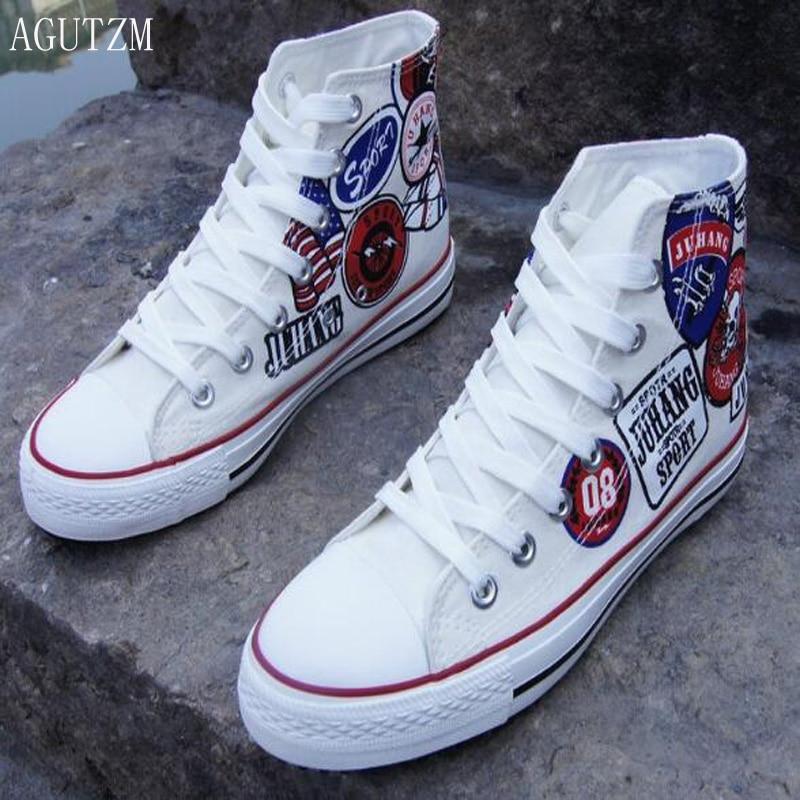 separation shoes 9a49d e2eac AGUTZM Men s Vulcanize Shoes Top Sneakers High Man
