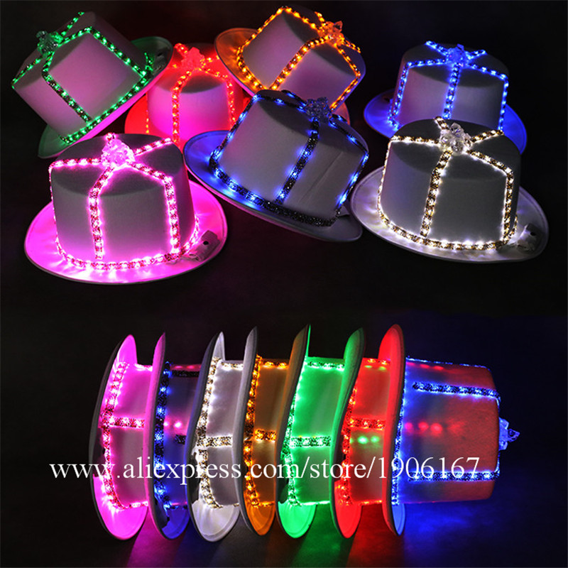 6 Pcs Colorful LED Luminous Hats Light Up Party Props Christmas Stage Performance Led Headwear Dancing Bar DJ Birthday Gift