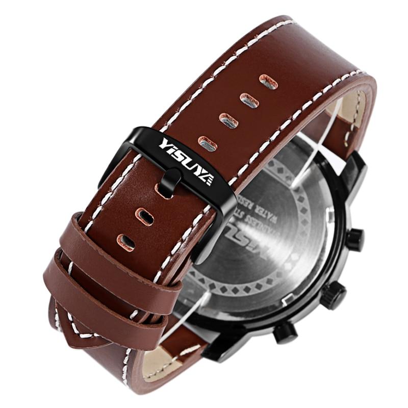 Heren Horloges Luxe Merk Lederen Mannelijke Klok YISUYA Militaire - Herenhorloges - Foto 6
