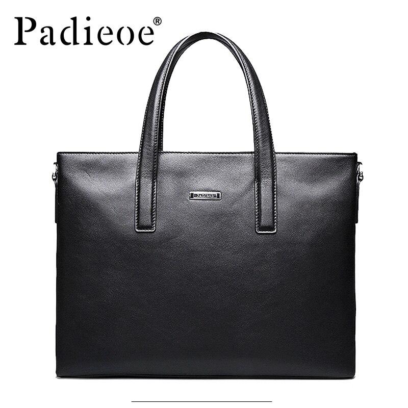 dd8b94a93937 Padieoe модный роскошный мужской портфель кошелек из натуральной кожи мужская  сумка большой емкости 15 дюймов деловой