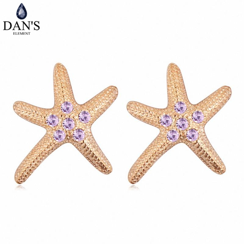 DANS Colors Real Austrian crystals Stud earrings for women Earrings s New Sale Hot Round 115796