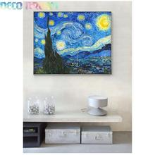 Diy Full Resin Round Diamond Painting Rhinestones Embroidery Kit Van Gogh Starry Night Famous Painting Mosaic Decor Hobby Gift full diamond embroidery world famous the church at auvers by vincent van gogh 50cm 40cm diy diamond painting